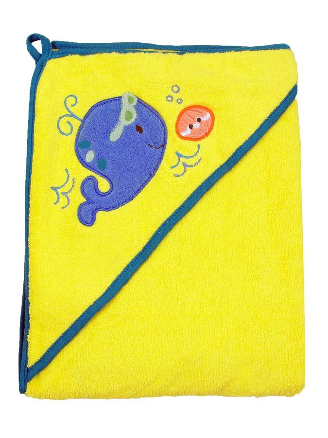 Osuška Baby Mix 100x100 cm yellow Dětská bavlněná osuška s kapucí