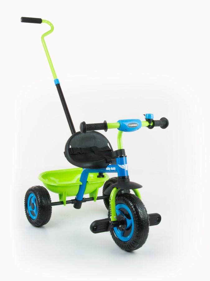 Tříkolka Milly Mally Boby Turbo blue/green Dětská tříkolka s vodící tyčí Milly Mally