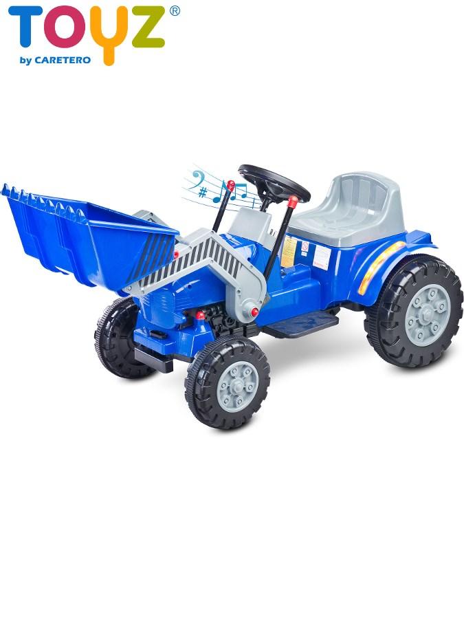 Elektrický traktor dětský Toyz Bulldozer blue/grey Dětský elektrický traktůrek s pohyblivou radlicí