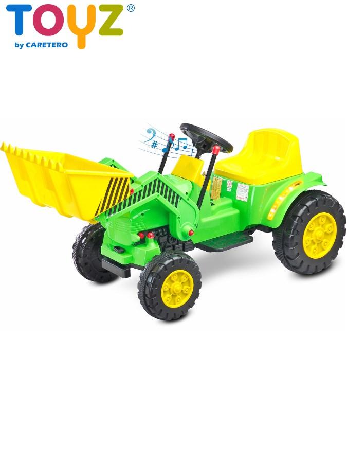 Elektrický traktor dětský Toyz Bulldozer green/yellow Dětský elektrický traktůrek s pohyblivou radlicí