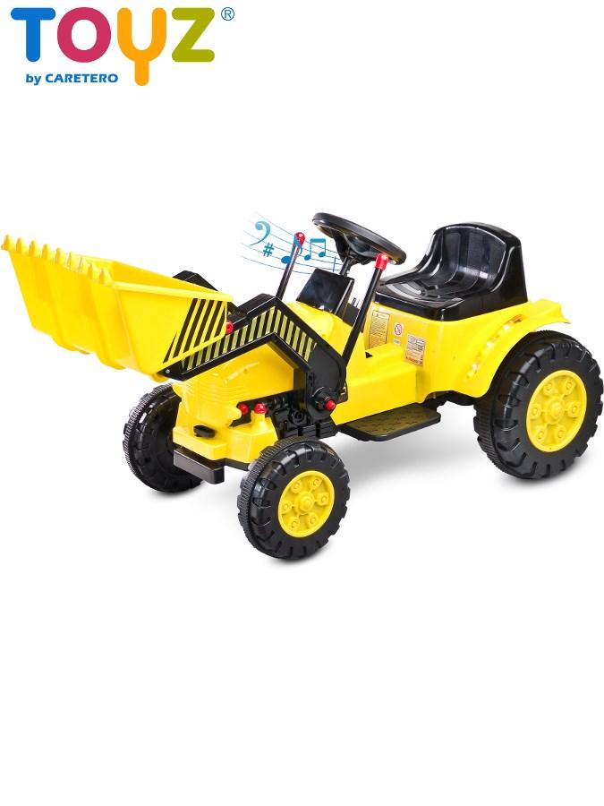 Elektrický traktor dětský Toyz Bulldozer yellow/black Dětský elektrický traktůrek s pohyblivou radlicí