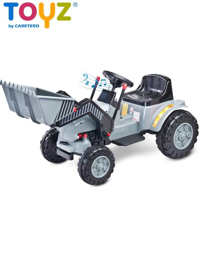 Elektrický traktor dětský Toyz Bulldozer grey/black Dětský elektrický traktůrek s pohyblivou radlicí