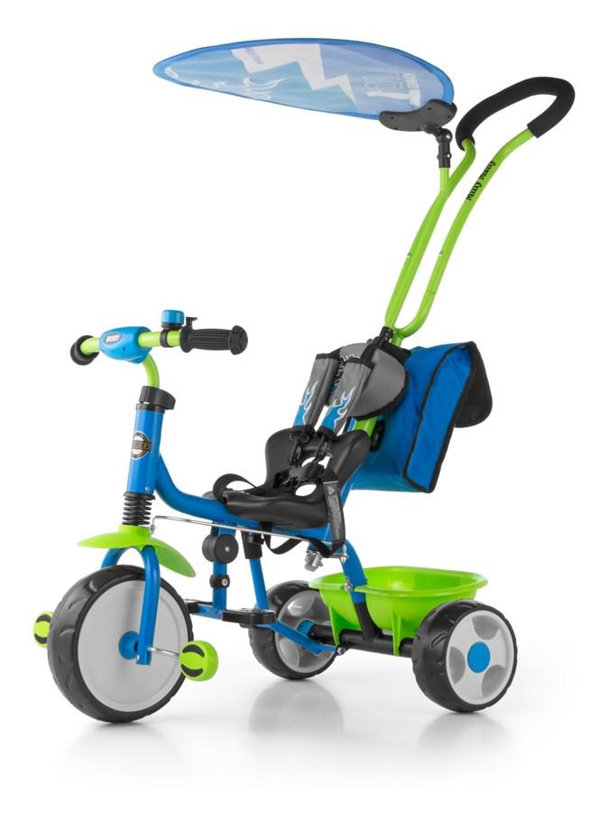 Tříkolka Milly Mally Boby Delux 2015 blue/green Tříkolka s vodící tyčí Milly Mally