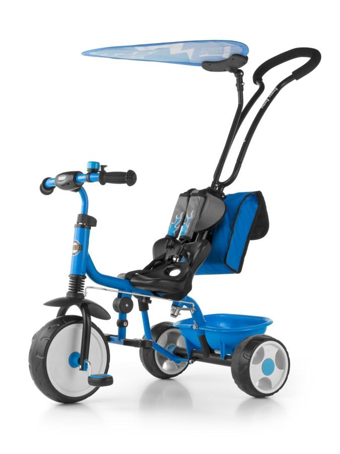 Tříkolka Milly Mally Boby Delux 2015 blue Tříkolka s vodící tyčí Milly Mally