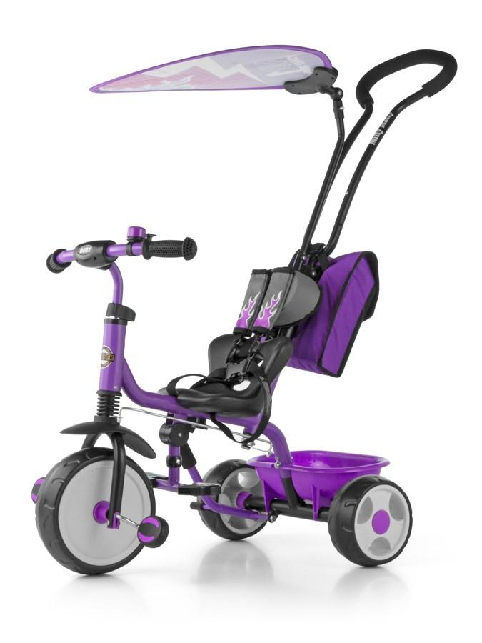 Tříkolka Milly Mally Boby Delux 2015 violet Tříkolka s vodící tyčí Milly Mally