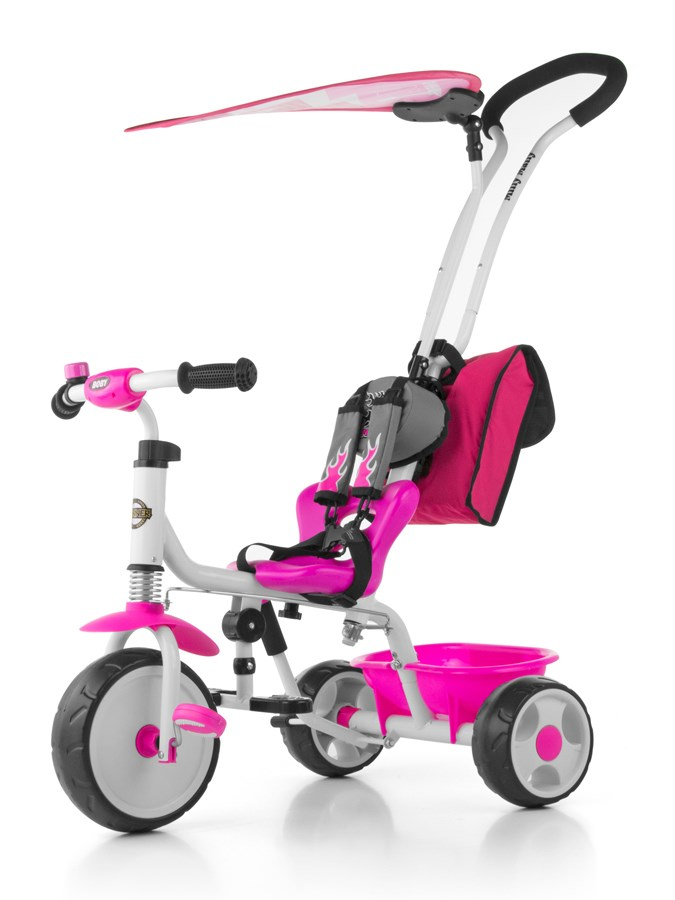 Tříkolka Milly Mally Boby Delux 2015 pink Tříkolka s vodící tyčí Milly Mally