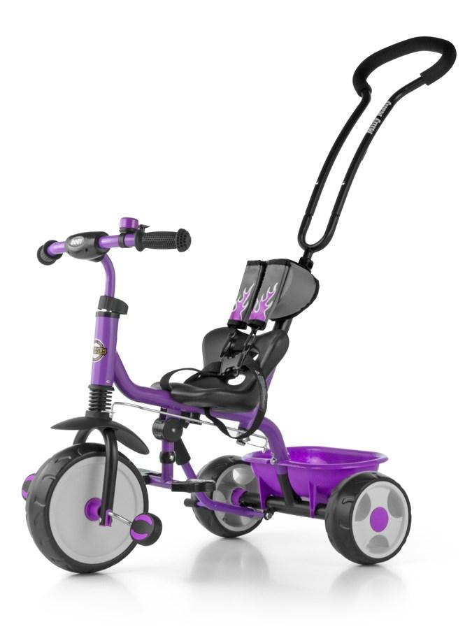 Tříkolka Milly Mally Boby 2015 violet Tříkolka s vodící tyčí Milly Mally se zvonkem