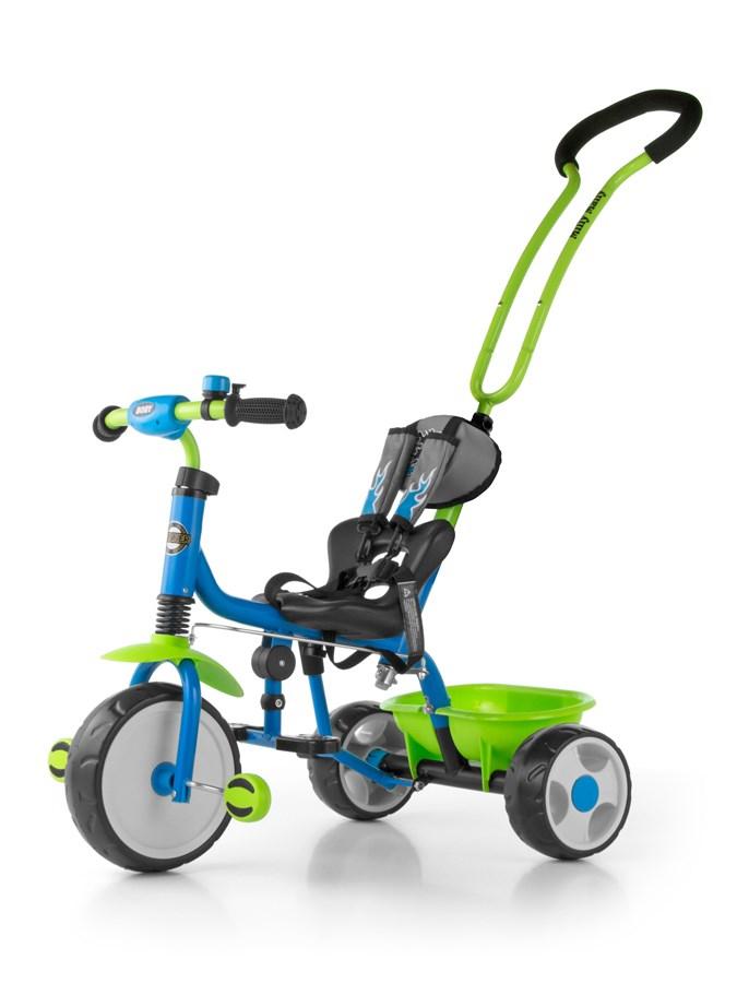 Tříkolka Milly Mally Boby 2015 blue/green Tříkolka s vodící tyčí Milly Mally se zvonkem