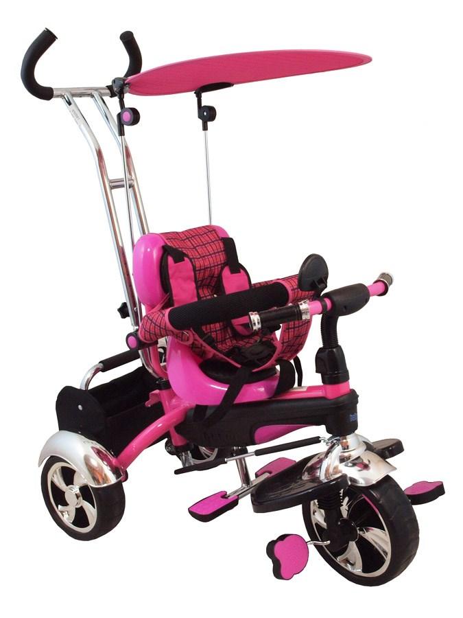 Tříkolka s vodící tyčí Baby Mix pink Tříkolka s vodící tyčí Baby Mix