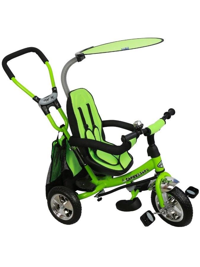 Tříkolka s vodící tyčí Baby Mix Safari green Tříkolka s vodící tyčí Baby Mix