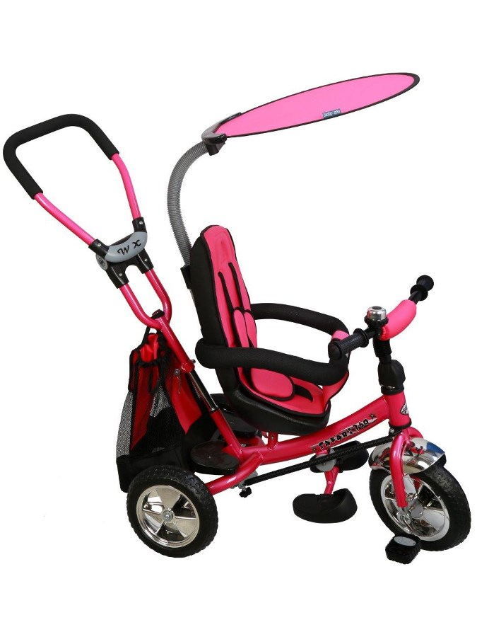 Tříkolka s vodící tyčí Baby Mix Safari pink Tříkolka s vodící tyčí Baby Mix