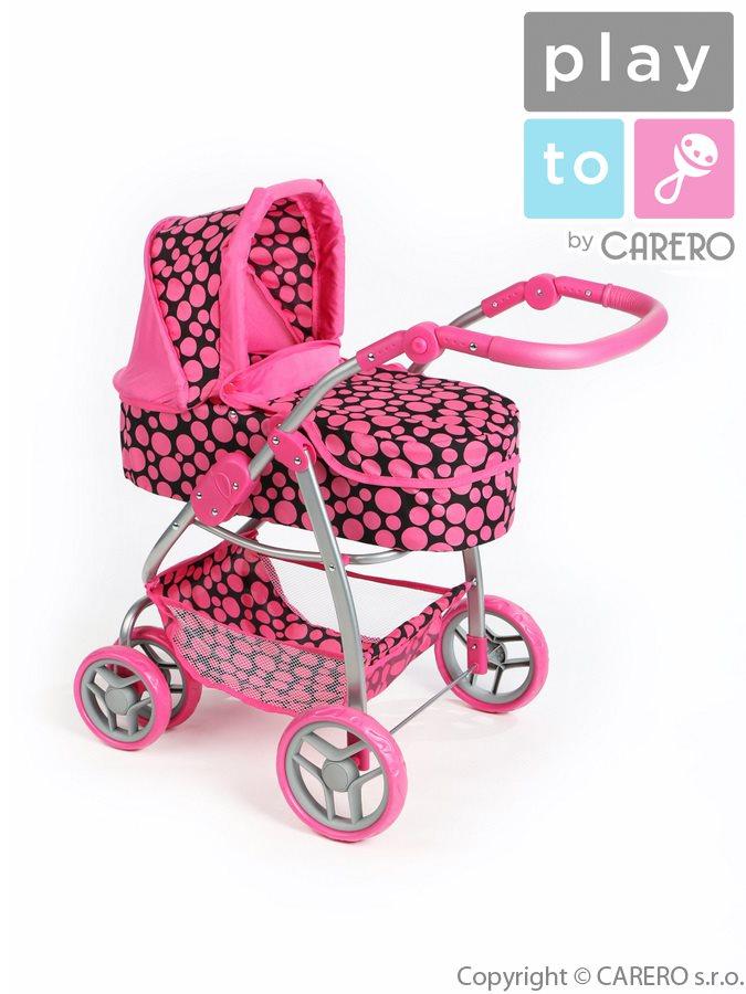 Kočárek pro panenky PlayTo Jasmínka růžový Kočárek pro panenky 3v1
