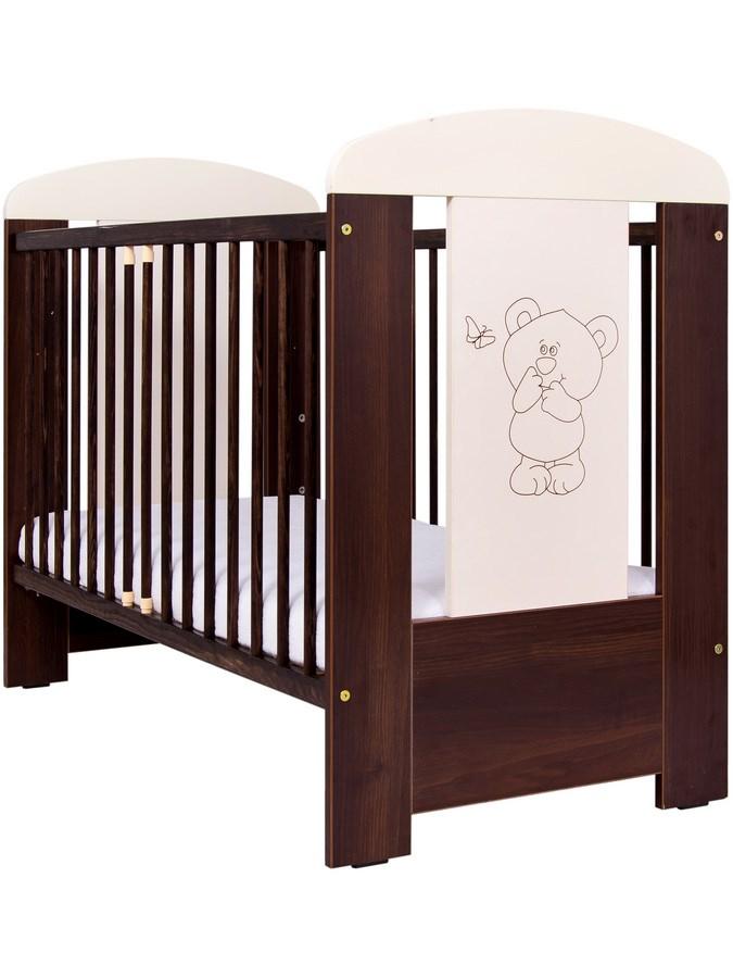 Dřevěná dětská postýlka Drewex Malý medvídek ořech Dětská postýlka dřevěná Drewex