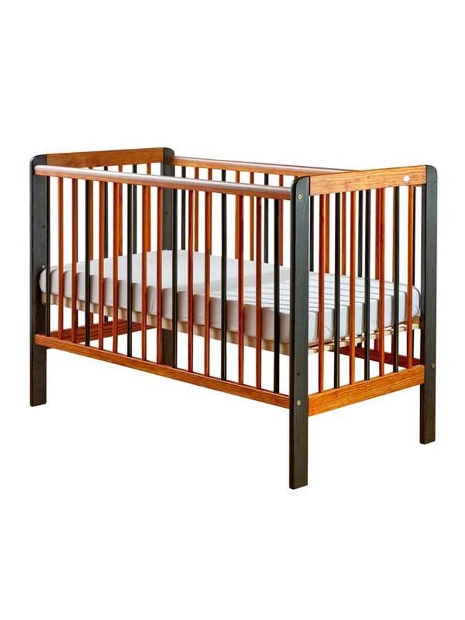 Dřevěná dětská postýlka DREWEX Tygřík orange/grey Dětská postýlka dřevěná 120x60cm