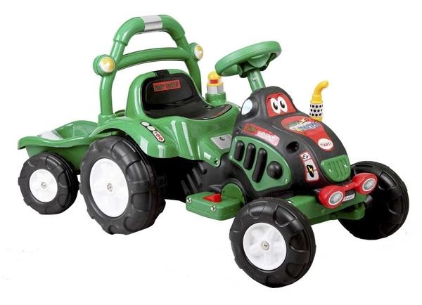 Elektrický traktor dětský ARTI O-KB green Dětský elektrický traktůrek s přívěsem na aku baterii