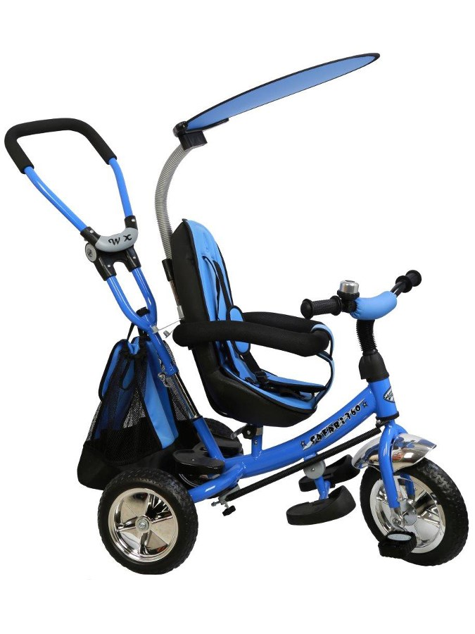 Tříkolka s vodící tyčí Baby Mix Safari blue Tříkolka s vodící tyčí Baby Mix