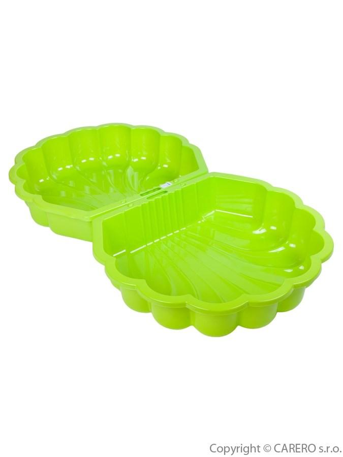 Pískoviště plastové mušle světle zelené Uzavíratelné dvojité plastové pískoviště nebo bazének