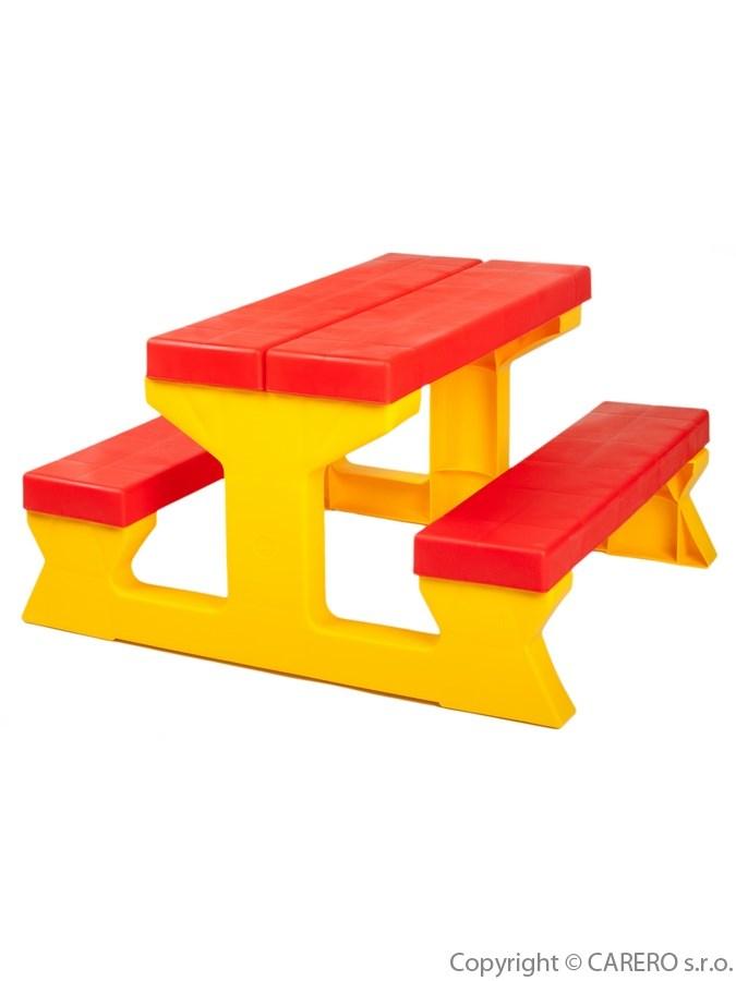 Dětský stolek s lavičkami red-yellow Zahradní sestava pro děti 1+2