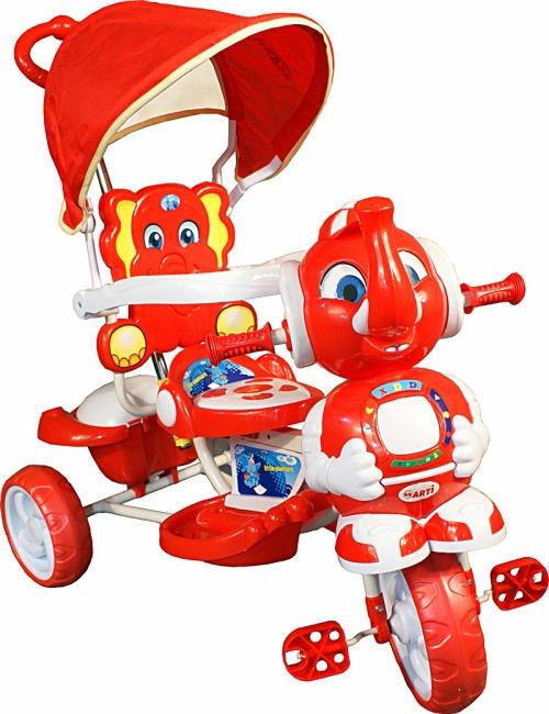 Tříkolka ARTI Sloník A-12 červená Dětská tříkolka s vodící tyčí a stříškou
