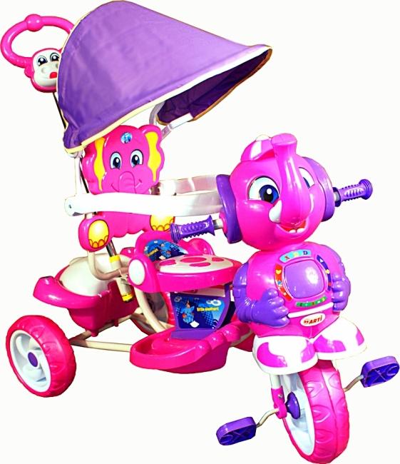 Tříkolka ARTI Sloník A-12 violet Dětská tříkolka s vodící tyčí a stříškou