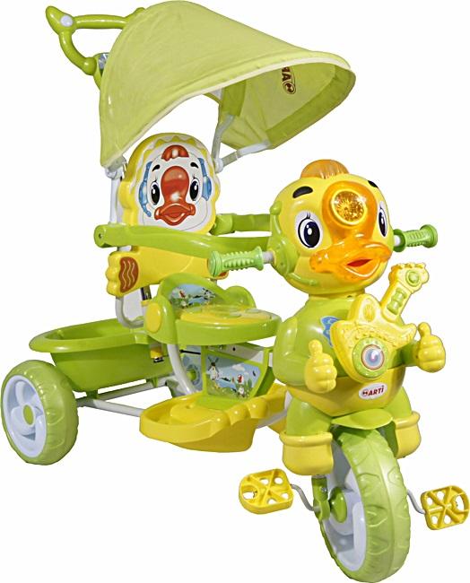 tříkolka ARTI Kačer A-8-B green Dětská tříkolka s vodící tyčí a stříškou