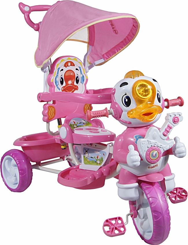 tříkolka ARTI Kačer A-8-B pink Dětská tříkolka s vodící tyčí a stříškou