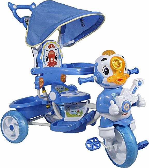tříkolka ARTI Kačer A-8-B blue Dětská tříkolka s vodící tyčí a stříškou