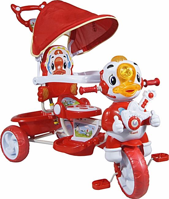 tříkolka ARTI Kačer A-8-B red Dětská tříkolka s vodící tyčí a stříškou