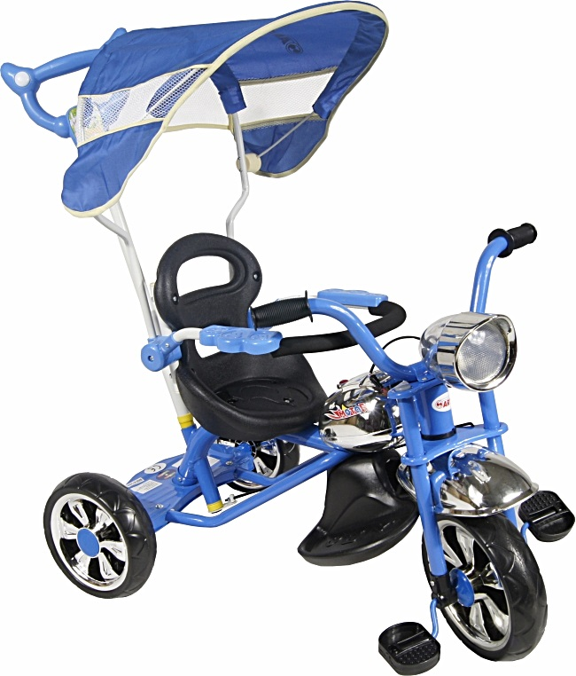 tříkolka ARTI Moto Classic W-11 blue Dětská tříkolka s vodící tyčí a stříškou