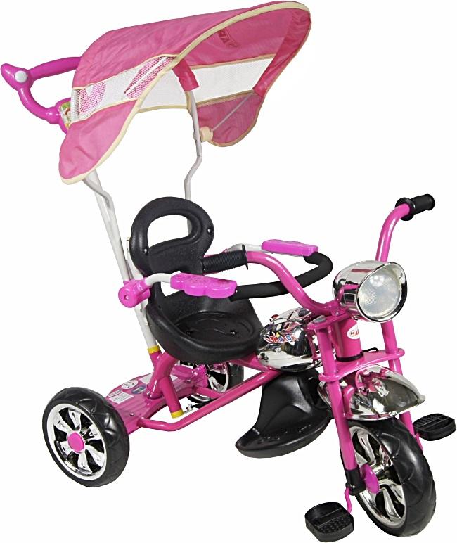 tříkolka ARTI Moto Classic W-11 pink Dětská tříkolka s vodící tyčí a stříškou