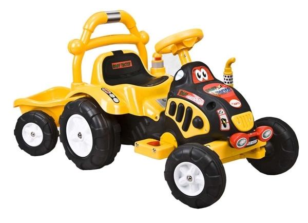Elektrický traktor dětský ARTI O-KB yellow Dětský elektrický traktůrek s přívěsem na aku baterii