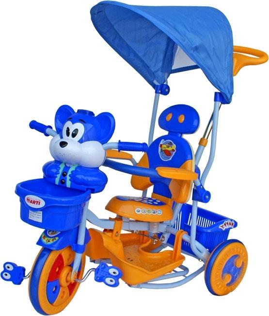 ARTI T-30 tříkolka Veverka modro-žlutá Dětská tříkolka s vodící tyčí a stříškou