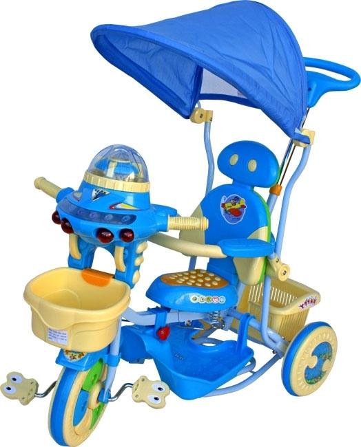 Tříkolka ARTI UFO T-27 modrá Dětská tříkolka s vodící tyčí a stříškou