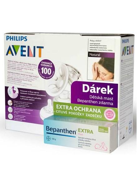 Elektronická odsávačka Avent Natural + Natural systém + dárek Bepanthen 100g Odsávačka mléka Avent Natural