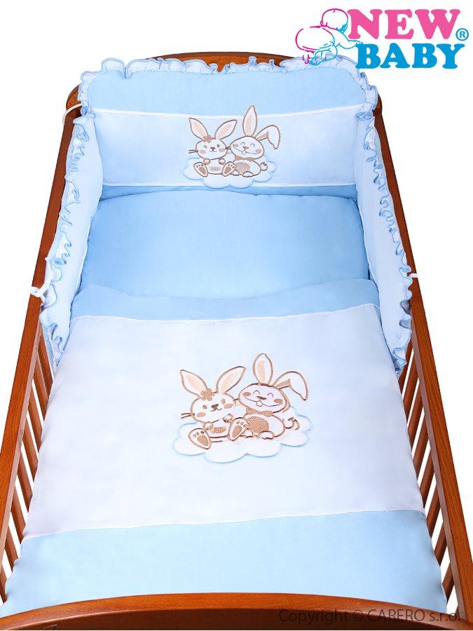 Souprava do postýlky 3-dílná Bunnies 100 modrá Povlečení do postýlky 100x135 cm
