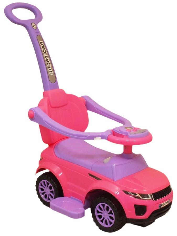 Odrážedlo Baby Mix SportCar 3v1 růžové Odrážedlo s vodící tyčí Baby Mix hrající