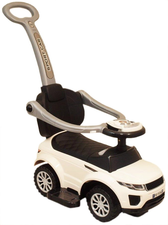 Odrážedlo Baby Mix SportCar 3v1 bílé Odrážedlo s vodící tyčí Baby Mix hrající