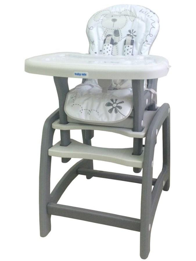 Jídelní židlička Baby Mix 2v1 šedá Dětská jídelní židlička rozkládací