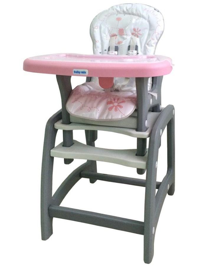 Jídelní židlička Baby Mix 2v1 růžová Dětská jídelní židlička rozkládací