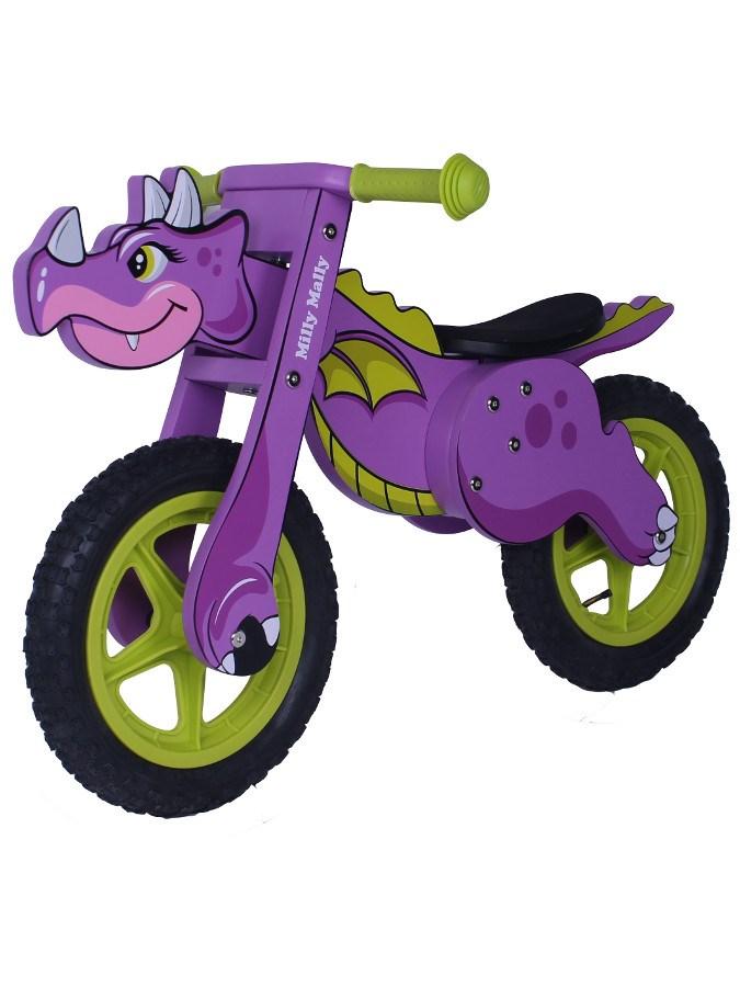 Odrážedlo kolo dřevěné Milly Mally Dino violet Dětské odrážedlo Milly Mally