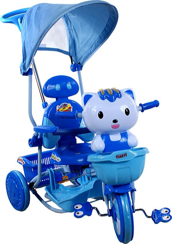 ARTI tříkolka s vodící tyčí Kočička New dark blue Dětská tříkolka s vodící tyčí a stříškou