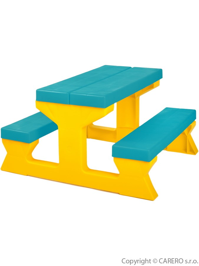 Dětský stolek s lavičkami Star Plus blue/yellow Zahradní sestava pro děti 1+2