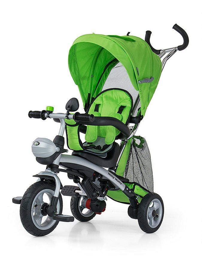 Dětská tříkolka Milly Mally City green Tříkolka s vodící tyčí Milly Mally