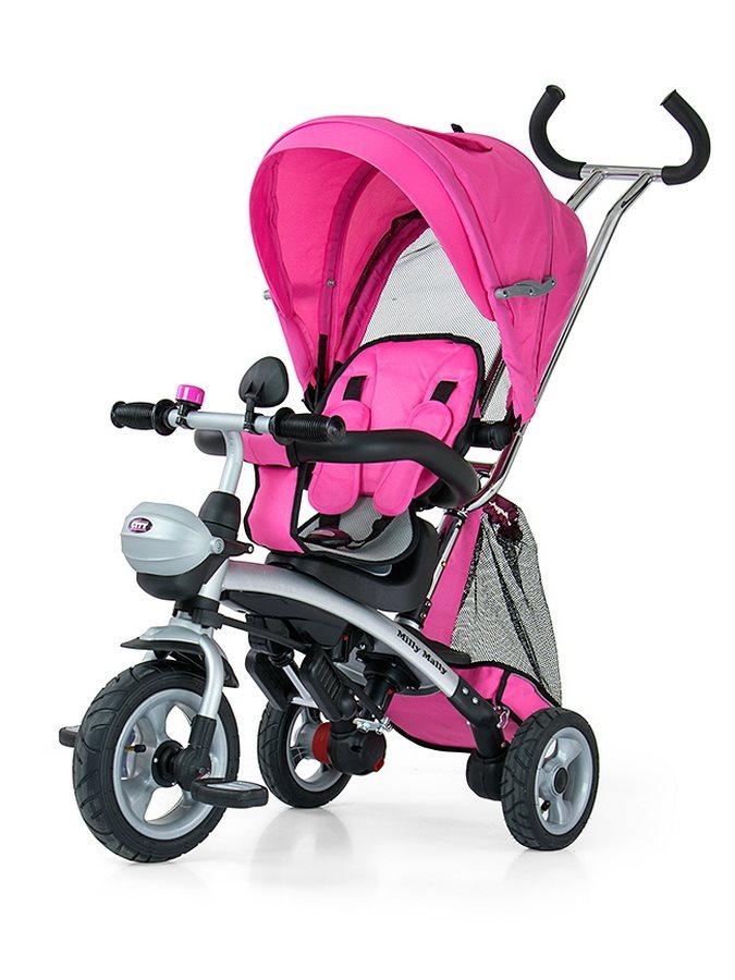Dětská tříkolka Milly Mally City pink Tříkolka s vodící tyčí Milly Mally
