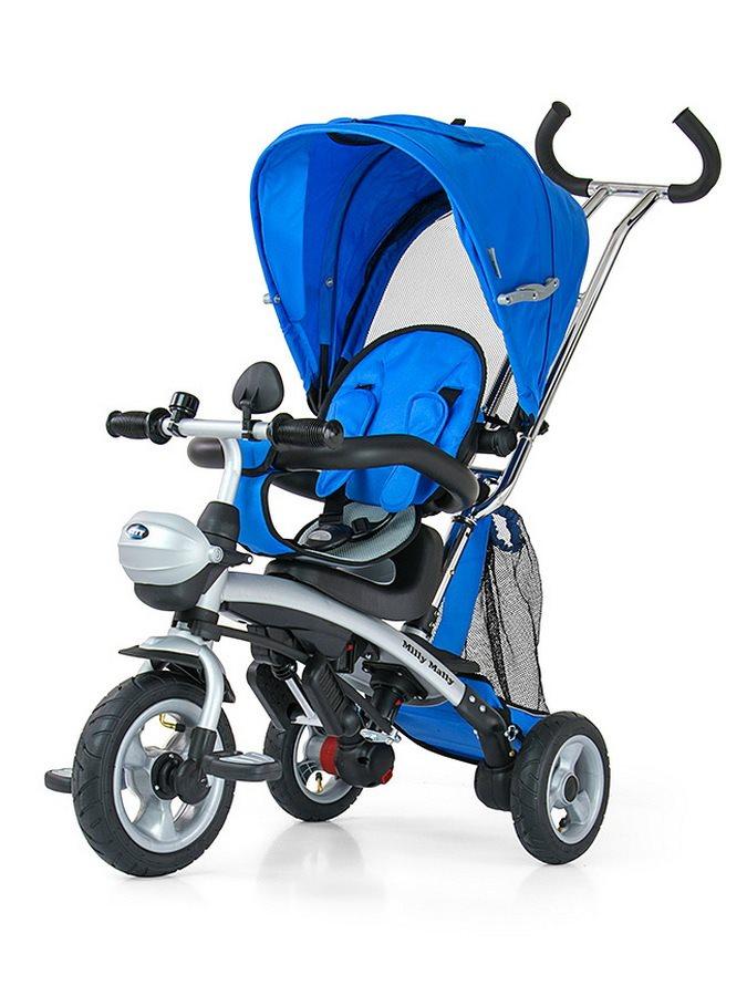 Dětská tříkolka Milly Mally City blue Tříkolka s vodící tyčí Milly Mally
