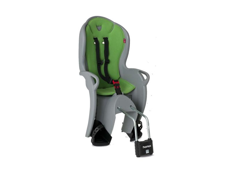 Cyklosedačka HAMAX - Kiss zelená/šedá Samonosná cyklosedačka s uchycením za sedlo kola .
