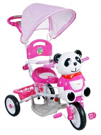 Tříkolka ARTI Panda 1 - růžová Dětská tříkolka s vodící tyčí a stříškou