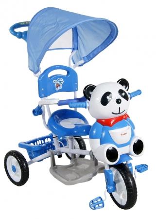 Tříkolka ARTI Panda 1 - modrá Dětská tříkolka s vodící tyčí a stříškou