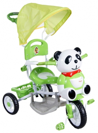 Tříkolka ARTI Panda 1 - zelená Dětská tříkolka s vodící tyčí a stříškou