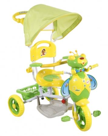 ARTI tříkolka s vodící tyčí VČELKA 4 zelená Dětská tříkolka s vodící tyčí a stříškou
